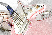 Thrill Digital Art - RockNRoller Coaster with Aerosmith Guitar Hollywood Studios Walt Disney World Prints Colored Pencil by Shawn OBrien