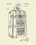 Record Player Drawings - Rockola Phonograph Cabinet 1940 Patent Art by Prior Art Design