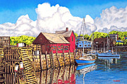 Rockport  Ma Framed Prints - Rockport Cove Framed Print by David Linton