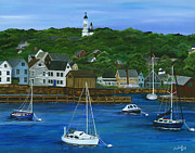 New England Village  Paintings - Rockport Dawning by Michelle Joseph-Long