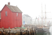 Fishing Shack Prints - Rockport Fog Print by Susan Cole Kelly