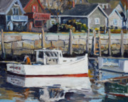 Rockport Paintings - Rockport Inner Harbor in winter by Chris Coyne