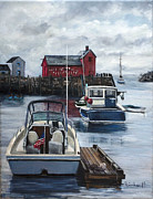 Fishermen Paintings - Rockport by Lisa Reinhardt