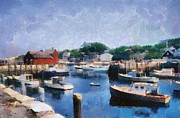 New England Village Digital Art Prints - Rockport Maine Harbor Print by Michelle Calkins