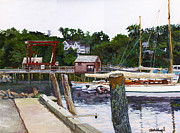 Rockport Paintings - Rockport Marina by Thomas Michael Meddaugh
