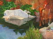 Quarry Paintings - Rockport Quarry Reflection by Claire Gagnon