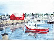 Rockport  Ma Paintings - Rockport reflections by David Poyant