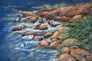 Shoreline Pastels Posters - Rocks Along The Shore Poster by Arline Wagner