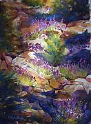 Therese Fowler-bailey Prints - Rocks and Lupine    SOLD Print by Therese Fowler-Bailey