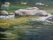 Colorado Mountain Stream Paintings - Rocks and Ripples on the Raoring Fork by Georgeann Waggaman