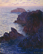 Moody Painting Framed Prints - Rocks at Bell Ile Port Domois Framed Print by Claude Monet
