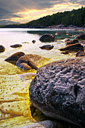 Green Bay Prints - Rocks at Georgian Bay shore Print by Elena Elisseeva
