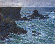 Impressionism Seascape Posters - Rocks at Port Coton the Lion Rock Poster by Claude Monet