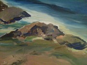 Beautiful Scenery Paintings - Rocks In Heisler Park Laguna Beach by Betsy Mallegg