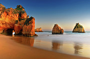 Algarve Posters - Rocks In Sea Poster by Juampiter