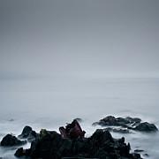 Rocks In Water At Sea Print by Ahfox21