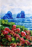 Watercolor Resort Posters - Rocks of Capri Poster by Zaira Dzhaubaeva