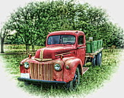 Rocks Old Truck Print by Pamela Baker