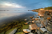Edge Posters - Rocks On Shore Line Poster by David Olsson