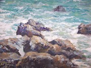 Hamptons Painting Prints - Rocks on the beach Print by Bart DeCeglie