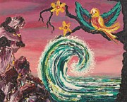 Molleur Painting Posters - Rocks Wave and Bird Poster by Suzanne  Marie Leclair