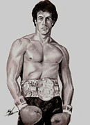 80s Drawings Framed Prints - Rocky 3 Framed Print by Michael Mestas