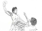 Boxer Drawings - Rocky and Apollo Creed by Kiana Gonzalez