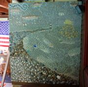 Mosaic Mixed Media - Rocky Beach Sunset Mosaic  by Anne Babineau