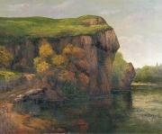 Autumn Landscape Painting Prints - Rocky Cliffs Print by Gustave Courbet