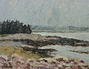 Maine Shore Painting Originals - Rocky Coast by Lynne Brown