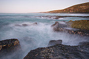 Kangaroo Island Framed Prints - Rocky Coastline With Waves Motion Framed Print by Brooke Whatnall