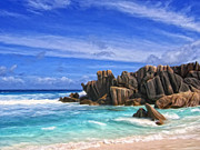 Grande Painting Framed Prints - Rocky Cove in the Seychelles Framed Print by Dominic Piperata