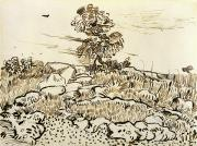 Ink Drawing Paintings - Rocky Ground at Montmajour by Vincent van Gogh