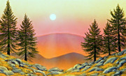 Sunset In Mountains Posters - Rocky Heights Poster by Frank Wilson