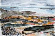 Jan Anderson Watercolors - Rocky Maine beach 2 by Jan Anderson