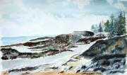 Jan Anderson Watercolors - Rocky Maine beach by Jan Anderson
