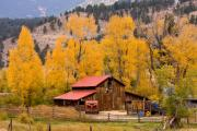 Horse Images Prints - Rocky Mountain Autumn Ranch Landscape Print by James Bo Insogna
