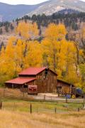 Red Barn Prints Framed Prints - Rocky Mountain Barn Autumn View Framed Print by James Bo Insogna