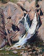 Waterfall Pastels Posters - Rocky Mountain Cascade Poster by Mary Benke