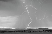 Lighning Prints - Rocky Mountain Front Range Foothills Lightning Strikes 1 BW Print by James Bo Insogna