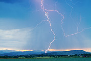 Lightning Bolt Pictures Prints - Rocky Mountain Front Range Foothills Lightning Strikes 1 Print by James Bo Insogna