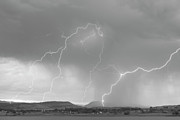 Lighning Prints - Rocky Mountain Front Range Foothills Lightning Strikes BW Print by James Bo Insogna