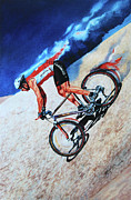 Mountain Biking Paintings - Rocky Mountain High by Hanne Lore Koehler