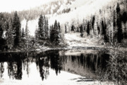 Autumn In The Country Digital Art Posters - Rocky Mountain Lake - Black and White Poster by Steve Ohlsen