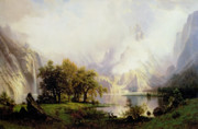 Fog Paintings - Rocky Mountain Landscape by Albert Bierstadt