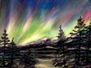 Storms Pastels Framed Prints - Rocky Mountain Northern Lights  Framed Print by Patricia L Davidson
