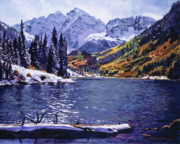 Maroon Bells Posters - Rocky Mountain Serenity Poster by David Lloyd Glover