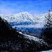 Mountains Pastels Prints - Rocky Mountain Winter Vista Print by Bob Richey