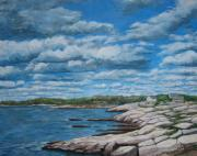 Horizon Painting Originals - Rocky NS Shore by Anda Kett