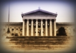 Art Museum Digital Art Prints - Rocky on the Art Museum Steps Print by Bill Cannon